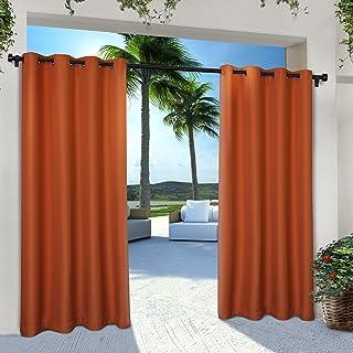 Best Exclusive Home Curtains Indoor/Outdoor Solid Cabana Grommet Top Curtain Panel Pair, 54x96, Mecca Orange, 2 Piece Reviews