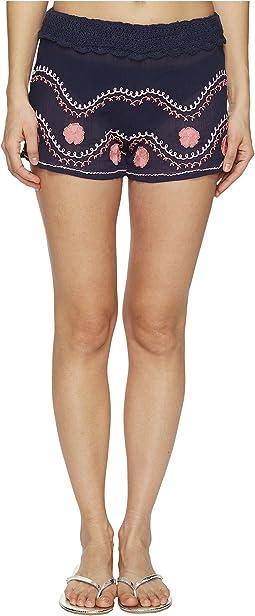 Letarte - Embroidered Beach Shorts
