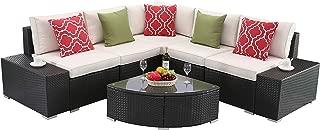 Do4U 6 PCs Outdoor Patio PE Rattan Wicker Sofa Sectional Furniture Set Conversation Set- Seat Cushions & Glass Coffee Table| Patio, Backyard, Pool| Steel Frame (Beige)