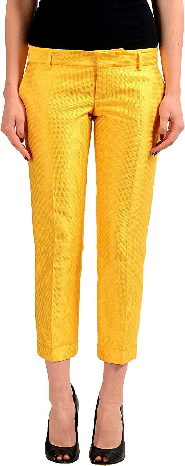 DSQUARED2 Silk Yellow Women's Cropped Casual Pants US XS IT 38