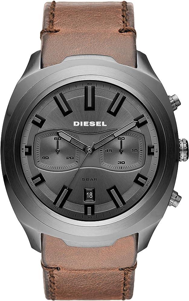 Diesel,orologio, cronografo da uomo,con cinturino in pelle e cassa in acciaio DZ4491