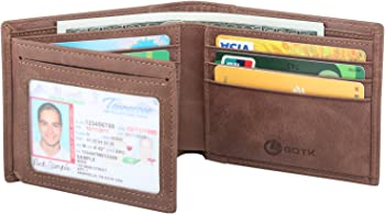 GDTK Men's RFID Blocking Cowhide Leather Vintage Trifold Wallet