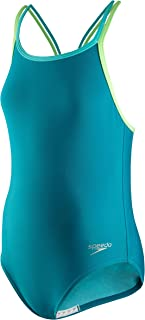 Speedo Girls' Swimsuit-Solid One Piece, Multi Straps, Capri Breeze