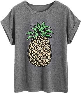 Women's Pineapple Print Short Sleeve Tee Shirt