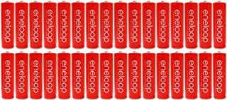 """New """"Red"""" Panasonic Eneloop 32 Pack AA NiMH Pre-Charged Rechargeable Batteries -PLUS BATTERY HOLDER- Rechargeable 2100 times"""