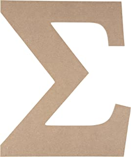 Wooden Greek Letter - Unfinished Wood Letter Sigma, Paintable Greek Font for DIY, Home, College, Sorority, Fraternity Decoration, 9.75 x 11.625 x 0.25 inches