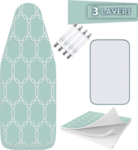 Balffor Silicone Wider Ironing Board Cover and Pad - Scorch Proof TriFusion Iron Board Cover (White & Green) with Bon...