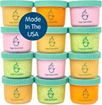 Sage Spoonfuls Big Batch Plastic Baby Food Storage Containers - Set of 12 4-Ounce Jars with 60 Labels - BPA-Free, Dishwash...