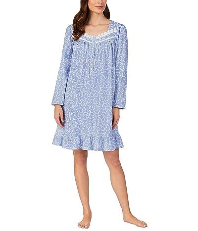 Eileen West Cotton Jersey Knit Long Sleeve Short Gown (Peri Scroll) Women