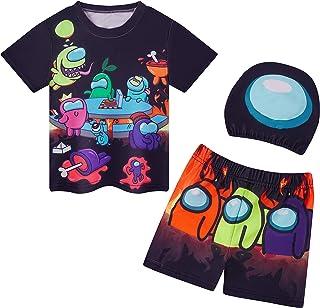 Dora-B-mon Boys Two Piece Swimsuit Kids Short Sleeve Swimwear Summer Holiday with Hat Black