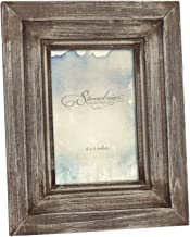Stonebriar Rustic Worn Wood Photo Frame with Attached Back Easel Stand, Vintage Picture Frame for Vertical Display on Desk...