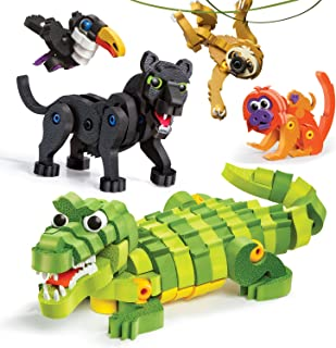 Bloco Toys Tropical Rainforest Animals | STEM Toy | Panther, Caiman, Sloth, Tamarin & Toucan | DIY Educational Building Construction Set (220 Pieces)