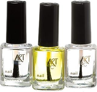 Art 2C - Tratamiento para proteger y reparar las uñas, paquete de 3 productos: aceite embellecedor, endurecedor y brillo, 3 x12 ml