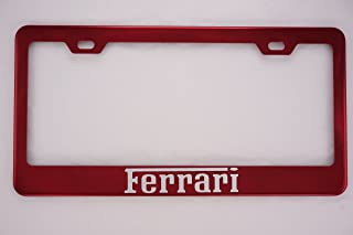 Fit Ferrari Red Stainless Steel License Plate Frame (Powder Coasted Color)