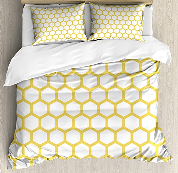 Ambesonne Yellow And White Duvet Cover Set Hexagonal Pattern Honeycomb Beehive Simplistic Geometrical Monochrome Decorative 3 Piece Bedding Set With 2 Pillow Shams Queen Size Yellow White
