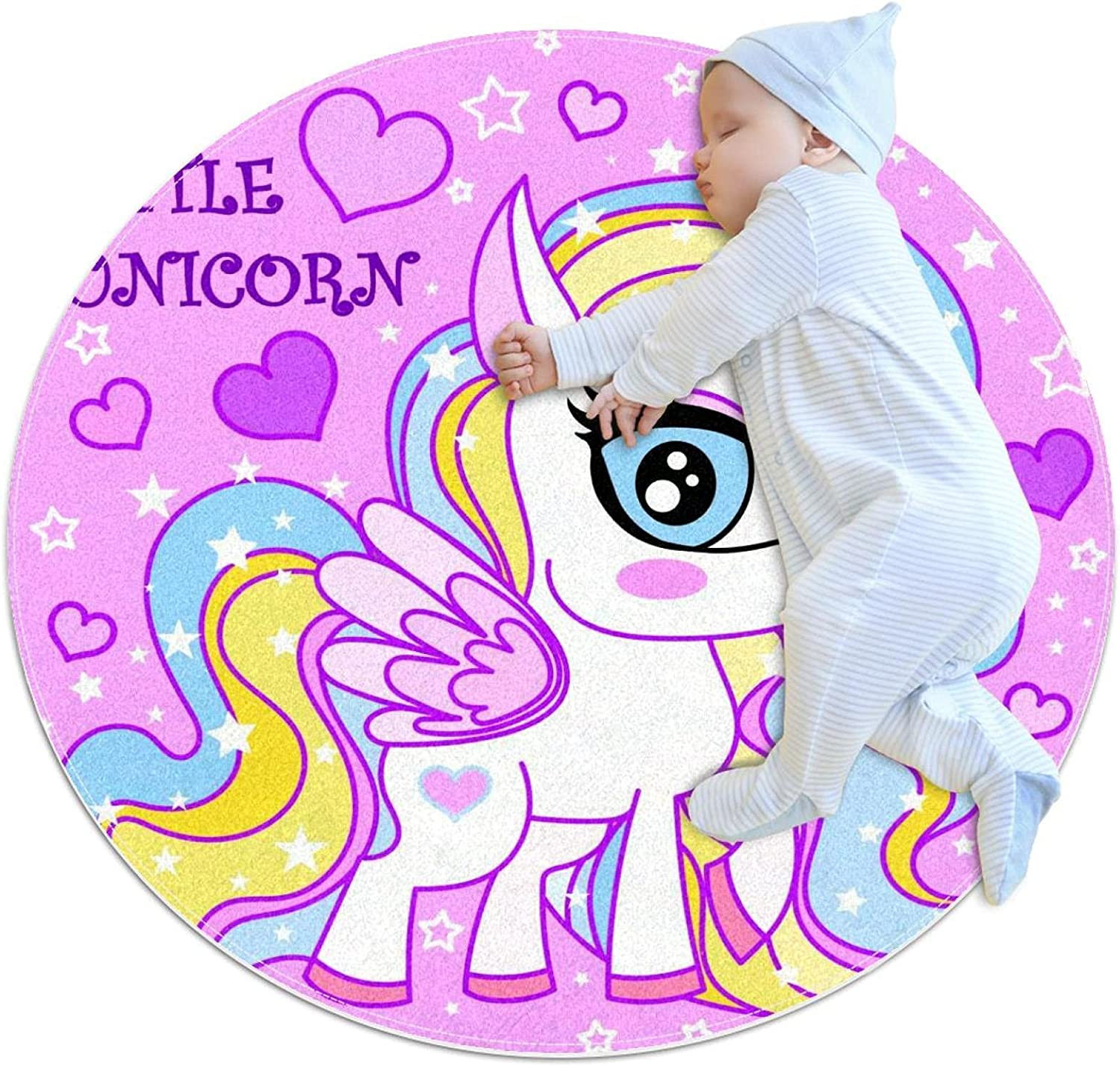 Pink Beauty Little Unicorn Round Area Pattern Rug lowest price Dedication Childre