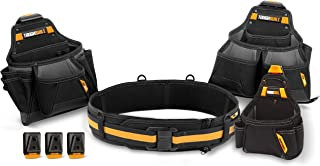 ToughBuilt - Contractor Tool Belt Set - Includes 3 Pouches, Padded Belt, Heavy Duty, Deluxe Premium Quality, Durable - 36 Pockets, Hammer Loop, 3 Patented ClipTech Hubs (TB-CT-101-4)