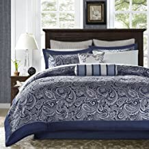 Madison Park Aubrey King Size Bed Comforter Set Bed In A Bag - Navy, Grey , Paisley Jacquard – 12 Pieces Bedding Sets – Ultra Soft Microfiber Bedroom Comforters