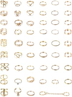52Pcs Vintage Silver Gold Knuckle Rings Women Midi Finger Ring Set for Women Stackable Ring
