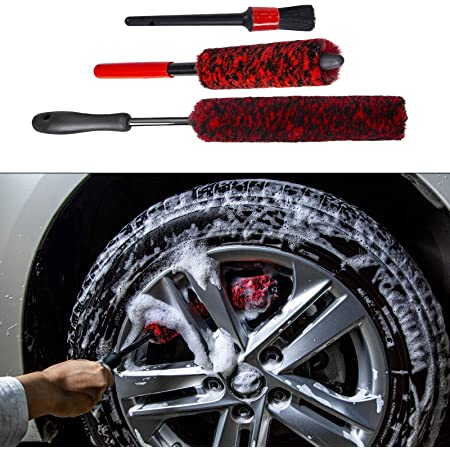 Wheel Brush and Detail Brush Kit Synthetic Wool Tire Rim Brush,Woolies Car Cleaning Wheels Safely Dense Fibres Soft