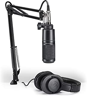 Audio-Technica AT2020PK Vocal Microphone Pack for Streaming/Podcasting, Includes XLR Cardioid Condenser Mic, Adjustable Boom Arm, and Monitor Headphones,Black