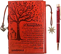 """wompolle Mom To Daughter Gifts,Writing Journal, Personal Diary, Lined Journal, Travel, 6x8.6"""" Notebook, Writers Notebook, Faux Leather, Refillable for Teen Girls Women- Best Anniversary Birthday Gift"""