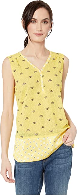 Novelty Knit Sleeveless V-Neck Top