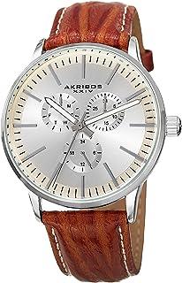 Akribos XXIV Omni Mens Casual Watch - Sunburst Effect Dial - 3 Subdial Multifunction Quartz Movement - Leather Strap - AK838
