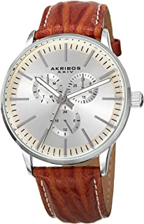 Akribos XXIV Omni Mens Casual Watch - Sunburst Effect Dial - 3 Subdial Multifunction Quartz Movement - Leather Strap - AK838