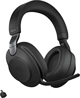 Jabra Evolve2 85 MS Wireless Headphones with Link380c, Stereo, Black – Wireless Bluetooth Headset for Calls and Music, 37 ...