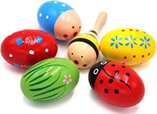 Set of 6-5PCS Adorable Wooden Egg Maracas Colorful Music Percussion Baby Children Kids Toy Egg Shakers(Assorted color) & 1 PCS Mini Wooden Ball Musical Instruments Maracas(Random color)