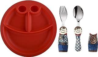 Eat4Fun Kids and Toddler Utensil Set - Cowboy Fork & Spoon and Bowl