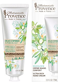 Mademoiselle Provence Organic Almond Ultra-Rich Hand Cream with Orange Blossom Extracts, Dry Sensitive Skin Shea Butter Natural Vegan Hand Moisturizing Lotion, Dermatologist Tested 2.5 fl oz