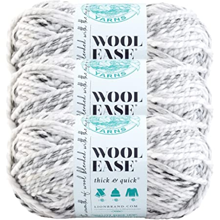 Lion Brand Yarn 640-154D Wool-Ease Thick and Quick Yarn Grey Marble