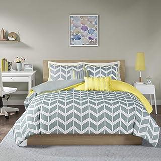Intelligent Design ID12-234 Nadia Duvet Cover King/Cal King Size - Yellow , Chevron Duvet Cover Set – 5 Piece – Ultra Soft...