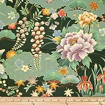 Trans-Pacific Textiles Oriental Chrysanthemum Iris Fabric, Jade, Fabric By The Yard