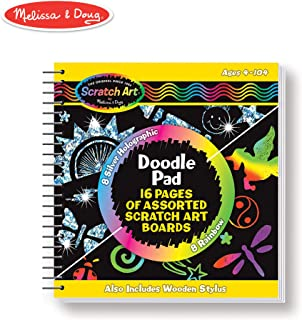Melissa & Doug Scratch Art Doodle Pad Book (Arts & Crafts, Mini Stylus Included, Easy to Use, 16 Spiral-Bound Pages)