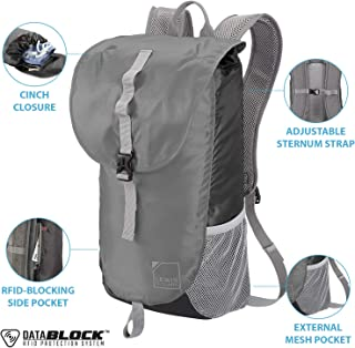 Lewis N. Clark Lightweight Packable Backpack Bag w/RFID Pocket, Black/Gray, 18 inch