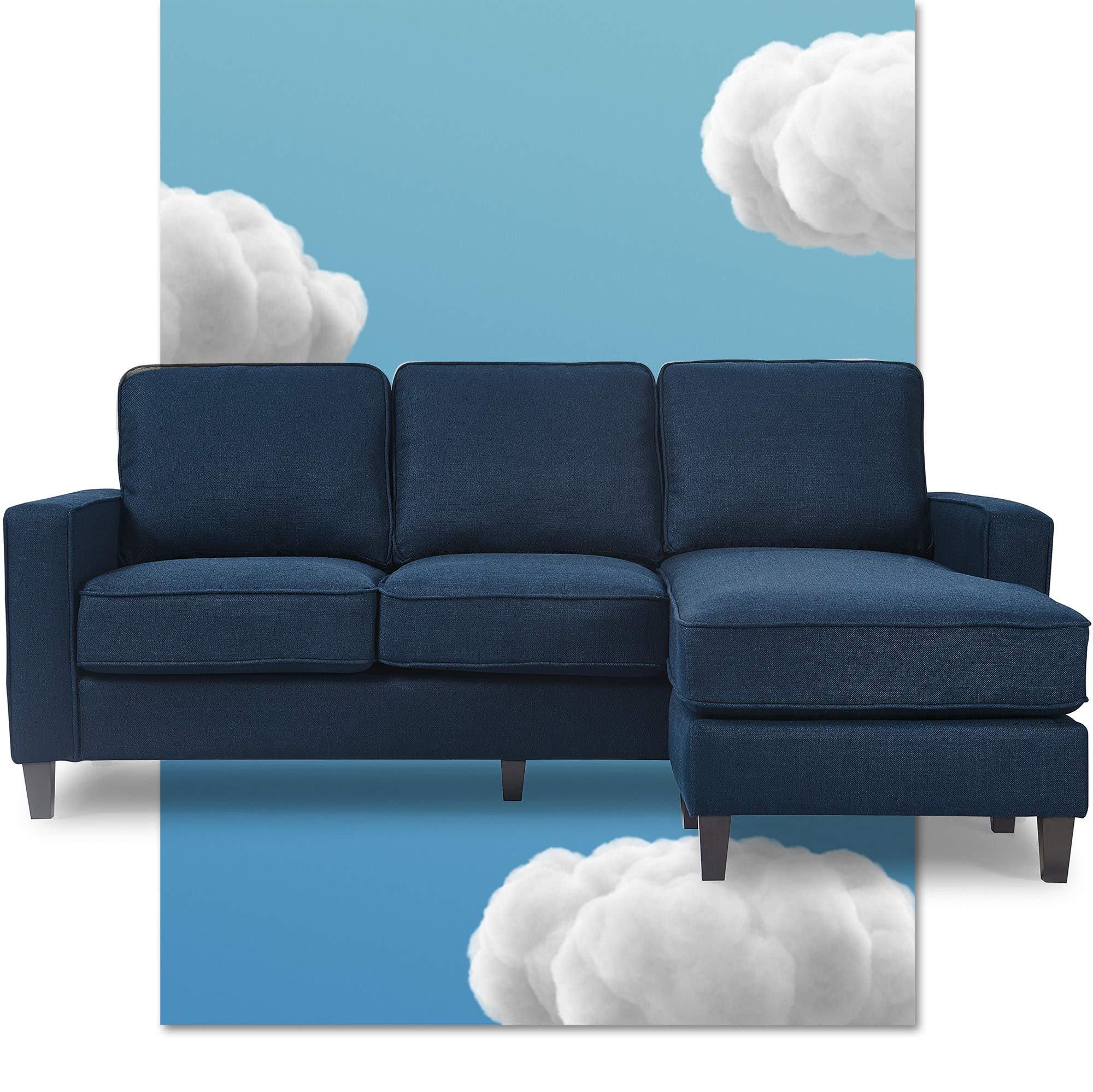 Serta Harmon Square Arm Reversible Sectional Sofa Living Room, Modern L-Shaped 3 Seat Fabric Couch, Dark Blue