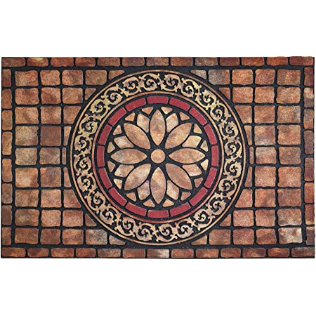 Kempf Half Round Inlaid Sun Ray Doormat Outdoor Entrance Mat Extra Large Size Double Door Entrances Heavy Duty 3 X 6 Feet Kitchen Dining