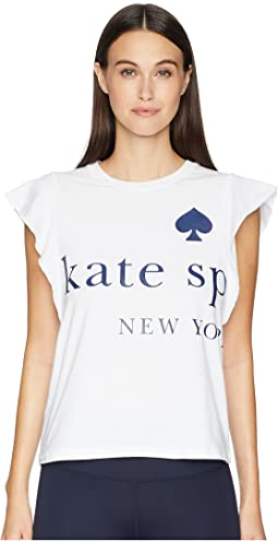 Kate Spade New York Athleisure Logo Ruffle Tee