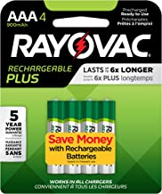 Rayovac Rechargeable AAA Batteries, High Capacity Rechargeable Plus AAA Batteries (4 Count)
