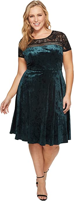 Plus Size Velvet Fit & Flare Dress