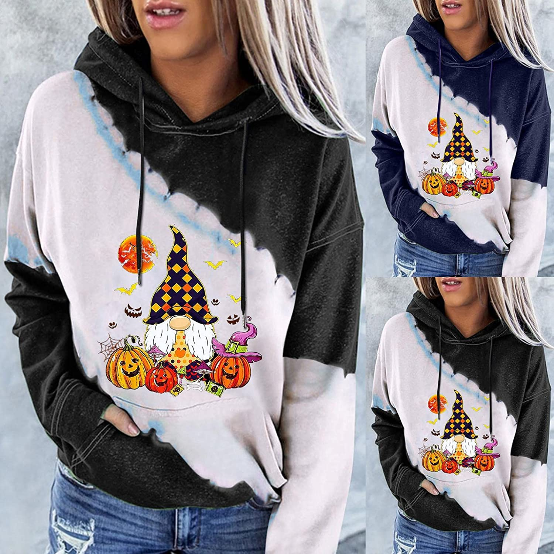 Womens Hoodies, Womens Halloween Sweatshirt Casual Color Block Drawstring Pumpkin Face Pullover Cute Tops Hoodie