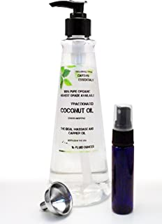 Organic Fractionated Coconut Oil-Exclusive Amazon Bundle-16 Oz. Pump Bottle-USP Food Grade-Bundled With 1 Oz. Purse Size Mister Bottle And Stainless Steel Mini Funnel