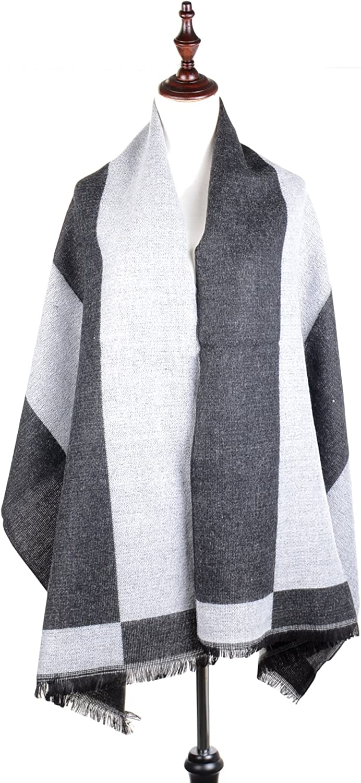 BYOS Winter Modern Soft Touch Mega Stripe Fringed Blanket Scarf Warp