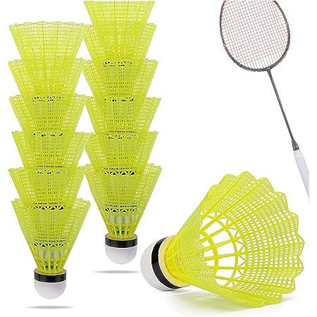 Federball Nylon Triple-A Qualität 6 Stück Badminton Bälle Topqualität gelb NEU