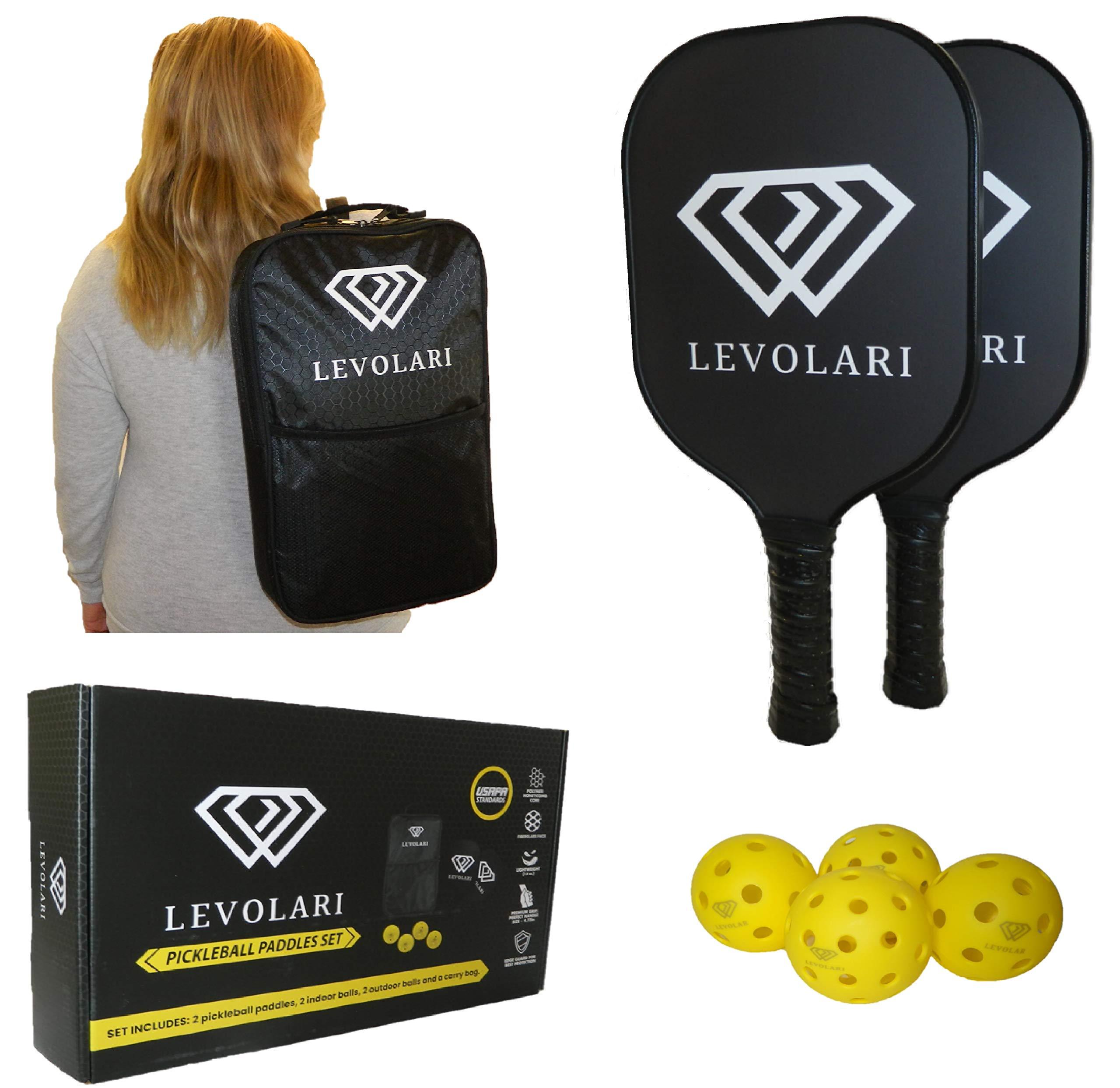 Levolari Pickleball Paddle Set – Includes 2 Pickleball Racke