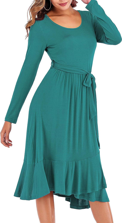 GUTGS Women's Plain Casual Flowy Long Sleeve Midi Dress with Belt