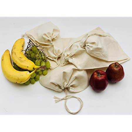 Select Size and Quantity 100/% Organic Cotton Single Drawstring Premium Quality Eco Friendly Reusable Natural Storage Bags Muslin Bags